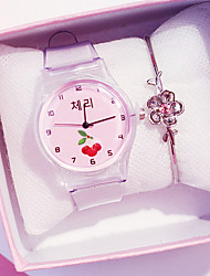 cheap -Women's Quartz Watches New Arrival Fashion Grey Silicone Chinese Quartz Gold Pink Purple Blushing Pink Chronograph Cute Creative 2pcs Analog One Year Battery Life