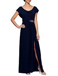 cheap -A-Line Bateau Neck Floor Length Chiffon Short Sleeve Elegant & Luxurious Mother of the Bride Dress with Crystals / Split Front / Ruching 2020
