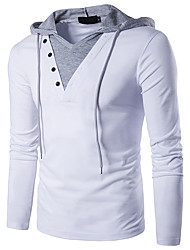 cheap -Men's Color Block T-shirt - Cotton Basic Daily Weekend Hooded White / Black / Spring / Fall / Long Sleeve