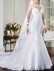 cheap -Mermaid / Trumpet Wedding Dresses Jewel Neck Court Train Polyester Long Sleeve Country Glamorous Illusion Detail Backless with Buttons Crystals Appliques 2020