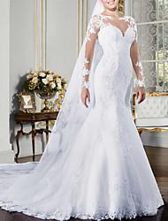 abordables -Trompette / Sirène Bijoux Traîne Tribunal Polyester Manches Longues Robes de mariée sur mesure avec Appliques / Boutons / Détail Cristal 2020