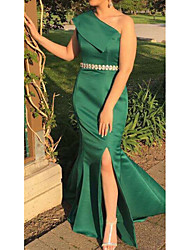 cheap -Sheath / Column One Shoulder Floor Length Satin Elegant Formal Evening Dress 2020 with Sash / Ribbon / Split Front