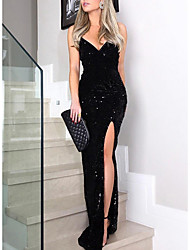 cheap -Women's Maxi Black Dress Elegant Sheath Solid Colored Strap Sequins S M Slim