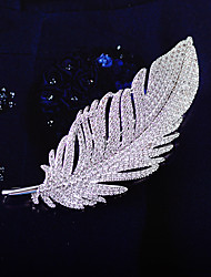 cheap -Men's Women's AAA Cubic Zirconia Brooches Feather Korean Brooch Jewelry Silver For Party Festival