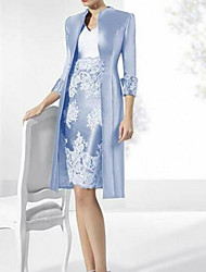 cheap -Sheath / Column Mother of the Bride Dress Vintage Plus Size V Neck Knee Length Polyester Sleeveless with Lace 2020