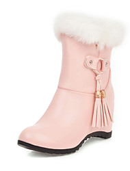 cheap -Women's Boots Snow Boots Hidden Heel Round Toe Rivet / Tassel Rabbit Fur / Faux Leather Booties / Ankle Boots Casual / Sweet Walking Shoes Spring &  Fall / Fall & Winter Black / White / Pink