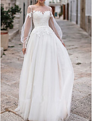 cheap -A-Line Bateau Neck Floor Length Tulle Long Sleeve Made-To-Measure Wedding Dresses with Appliques / Buttons 2020