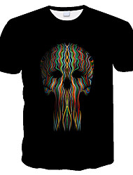 cheap -Men's Daily Holiday Street chic / Exaggerated T-shirt - 3D / Skull / Tie Dye Print Black