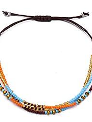 cheap -Women's Friendship Bracelet Braided Lucky Artistic Colorful Acrylic Bracelet Jewelry Black / Red / Blue For Gift School Festival