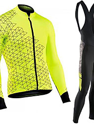 cheap -21Grams Men's Long Sleeve Cycling Jersey with Bib Tights Green / Black Bike Clothing Suit UV Resistant Quick Dry Winter Sports Solid Color Mountain Bike MTB Road Bike Cycling Clothing Apparel
