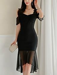 cheap -Women's Elegant Sheath Dress - Solid Colored Black S M L XL