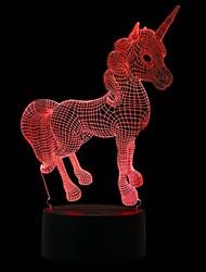 cheap -Unicorn 3D Nightlight Color-Changing / Creative / Decoration DC Powered / USB 1 set