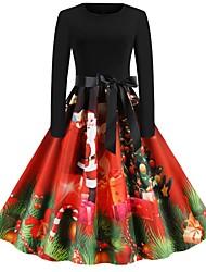 cheap -Women's Black Dress Vintage Christmas Party Festival Swing Geometric Santa Claus Drawstring S M