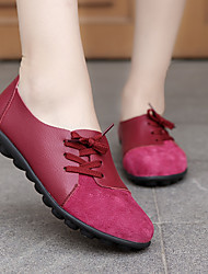 cheap -Women's Flats Flat Heel Round Toe Leather / PU Sweet / Minimalism Walking Shoes Spring & Summer / Fall & Winter Black / Dark Brown / White