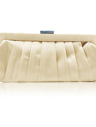 cheap -Women's Crystals Silk Evening Bag Solid Color Almond / Red
