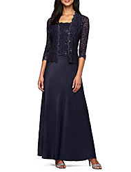 cheap -A-Line Mother of the Bride Dress Elegant Sparkle & Shine Square Neck Floor Length Chiffon Lace Sleeveless with Lace 2020