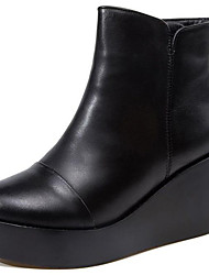 cheap -Women's Boots Wedge Heel Round Toe Nappa Leather Booties / Ankle Boots Classic / Vintage Winter / Fall & Winter Black