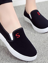 cheap -Women's Loafers & Slip-Ons Flat Heel Round Toe Canvas Spring Black / Red / Blue