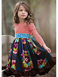cheap -Kids Girls' Flower Basic Striped Pleated Patchwork Long Sleeve Knee-length Dress Red / Cotton