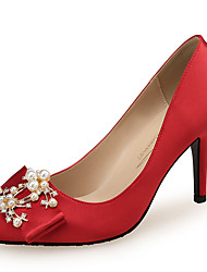 cheap -Women's Wedding Shoes Stiletto Heel Pointed Toe Rhinestone / Bowknot / Imitation Pearl Satin Classic / Sweet Spring & Summer Black / Champagne / Red / Party & Evening