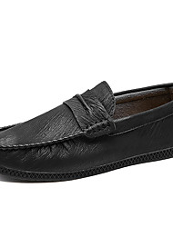 cheap -Men's Moccasin PU Fall Casual Loafers & Slip-Ons Non-slipping Black / Brown / Yellow