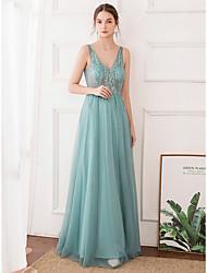 cheap -A-Line Elegant Prom Formal Evening Dress V Neck Sleeveless Floor Length Tulle with Beading 2021