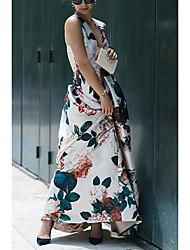 cheap -Women's Festival Elegant Swing Dress - Floral Rose, Drawstring Rainbow S M L XL