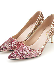 cheap -Women's Wedding Shoes Crystal Sandals Stiletto Heel Pointed Toe Sequin Synthetics Sweet / Minimalism Spring &  Fall / Spring & Summer Black / Silver / Fuchsia / White / Party & Evening