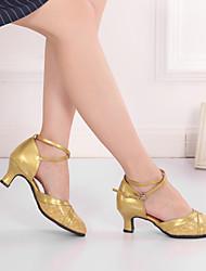 cheap -Women's Modern Shoes / Ballroom Shoes Synthetics Buckle Heel Buckle Cuban Heel Dance Shoes Gold / Silver / Performance / Practice