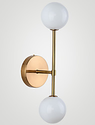 cheap -Wall Lamp Modern White Glass Globe Gold 2-Lights LED Indoor Wall Scone Fixture for Living Room Bedroom Bathroom Hallway