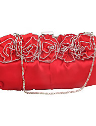 cheap -Women's Beading / Flower Silk / Pigskin Evening Bag Floral Print Black / Silver / Red