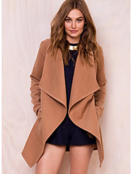 cheap -Women's Daily / Work Basic Fall & Winter Long Coat, Solid Colored Turndown Long Sleeve Polyester Bow Black / Navy Blue / Khaki