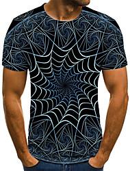 levne -Pánské 3D Grafika Tisk Štíhlý Tričko Denní Kulatý Černá / Krátký rukáv