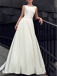 cheap -A-Line Jewel Neck Floor Length Satin Regular Straps Made-To-Measure Wedding Dresses with 2020