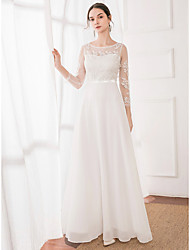 cheap -A-Line Jewel Neck Floor Length Tulle / Georgette 3/4 Length Sleeve Sexy Made-To-Measure Wedding Dresses with Lace 2020