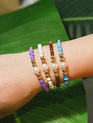 cheap -Women's Bead Bracelet Bracelet Braided Precious Casual / Sporty Rock Ethnic Cord Bracelet Jewelry Purple / Blue / White For Party Gift Daily School Work / Pearl / Pearl