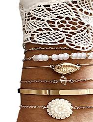 cheap -6pcs Women's Bracelet Bangles Cuff Bracelet Vintage Bracelet Layered Flower Shape Shell Classic Vintage Ethnic Fashion Boho Alloy Bracelet Jewelry Gold For Daily Street Holiday Club Festival