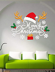 cheap -3d Christmax hat antlers decorative wall stickers acrylic festival home decors