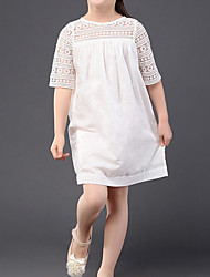 cheap -Kids Toddler Girls' Sweet Cute Solid Colored Lace Half Sleeve Above Knee Dress White
