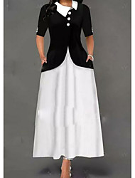 cheap -A-Line Jewel Neck Ankle Length Polyester Half Sleeve Plus Size Mother of the Bride Dress with Buttons 2020