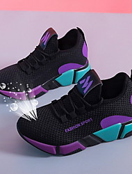 cheap -Women's Athletic Shoes Flat Heel Round Toe Mesh Running Shoes Fall & Winter Purple / Red / Color Block