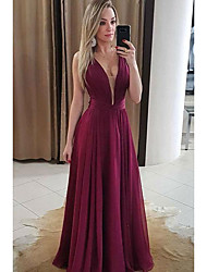 cheap -A-Line Plunging Neck Floor Length Chiffon Elegant Prom Dress with Draping / Ruched 2020