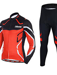 cheap -21Grams Men's Long Sleeve Cycling Jersey with Tights Black / Red Bike Clothing Suit UV Resistant Quick Dry Winter Sports Solid Color Mountain Bike MTB Road Bike Cycling Clothing Apparel / Stretchy