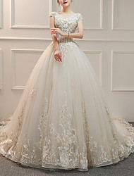 cheap -A-Line V Neck Court Train Tulle Cap Sleeve Formal Illusion Detail Made-To-Measure Wedding Dresses with Beading / Appliques 2020