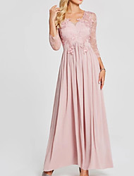 cheap -A-Line Scoop Neck Ankle Length Chiffon Elegant Formal Evening Dress with Appliques / Pleats 2020