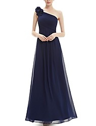 cheap -A-Line One Shoulder Floor Length Chiffon Bridesmaid Dress with Appliques / Ruching / Open Back
