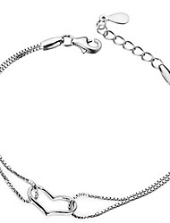 cheap -Men's Women's Bracelet Classic Heart Fashion Silver-Plated Bracelet Jewelry Silver For Daily