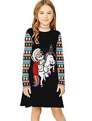 cheap -Kids Girls' Basic Cute Snowman Plaid Cartoon Christmas Print Long Sleeve Knee-length Dress Black