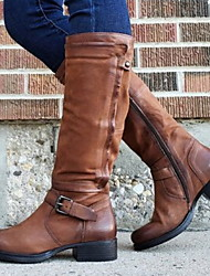 cheap -Women's Boots Comfort Shoes Low Heel Round Toe PU Mid-Calf Boots Fall & Winter Black / Brown / Red