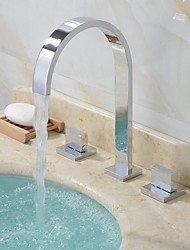 cheap -Bathroom Sink Faucet - Widespread Electroplated Free Standing Two Handles Three HolesBath Taps